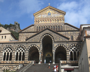 Face of the cathedral at Amalfi.  Cool looking facade.