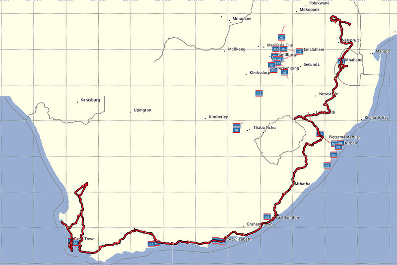Our route through South Africa. Namaqualand is the loop to the north of Cape Town.