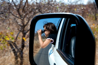 Octavia looking for animals in Krugerpark.