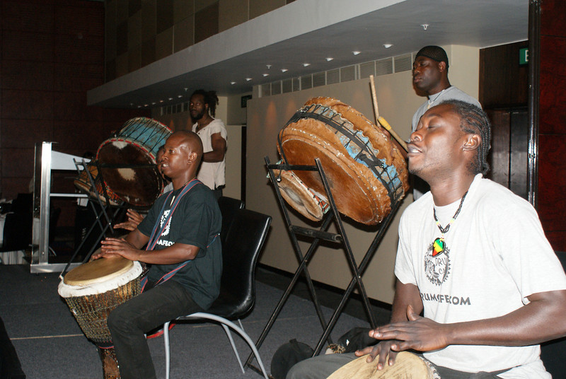 As part of the Attache's work I got to join her at a dinner.  Part of the entertainment was african drum music.  All attendees got their own drum to play and joined in.  Lot of fun.