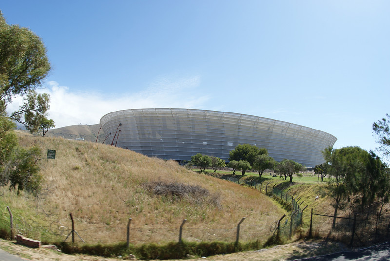 Here's the new Cape Town stadium built for the World Cup.  You can see Robbin Island (where Mandela was prisoner) and Table Mountain from the stadium (but not in this photo).