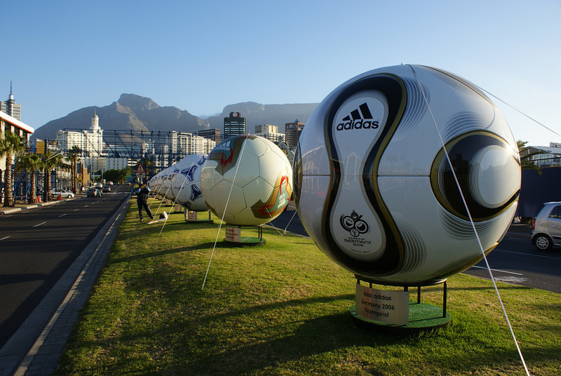 South Africa is hosting the 2010 Soccer World Cup (in June) and the soccer decorations trumped xmas. This exhibit was my favorite - all the official world cup soccer balls since the 70s.