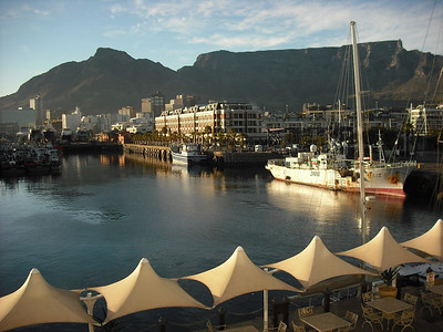Here's a view from the Victoria and Alfred Hotel in Cape Town.  The famous Table Mountain is in the background.