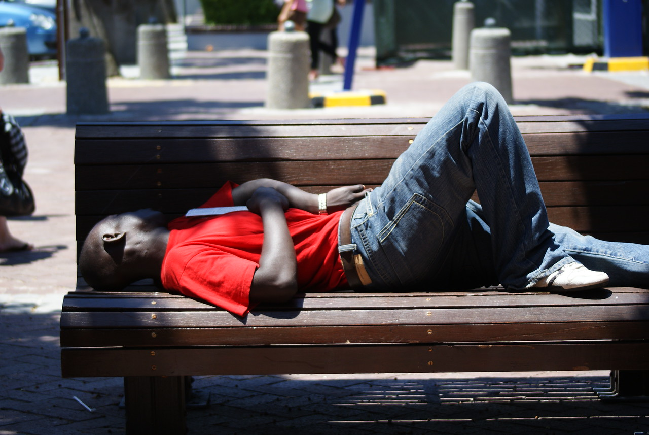 Man sleeping, Cape Town Waterfont.