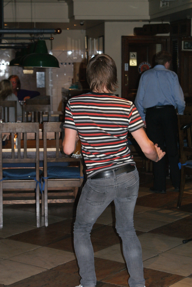 Dude dancing while we tried to eat.
