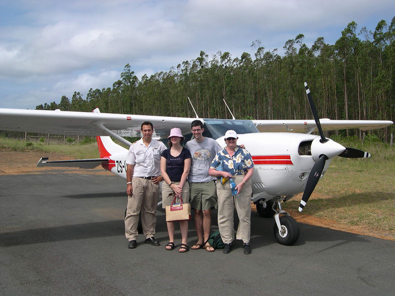 We took a small single engine plane from Honeyguide to Rocktail Bay.  Our pilot flew for the Flying Doctors mission organization, and the plane was used for medical flights in between charters.  Here we are on the ground after arriving at Rocktail Bay.