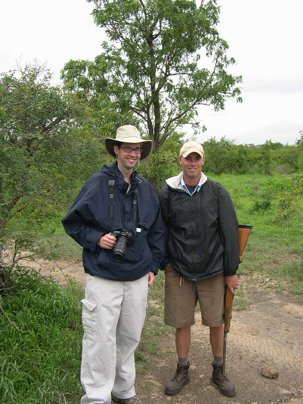 Jim and Jason, with a great big gun for protection.  Jason was a fully trained game ranger, and he said he had never needed to use the gun for protection.