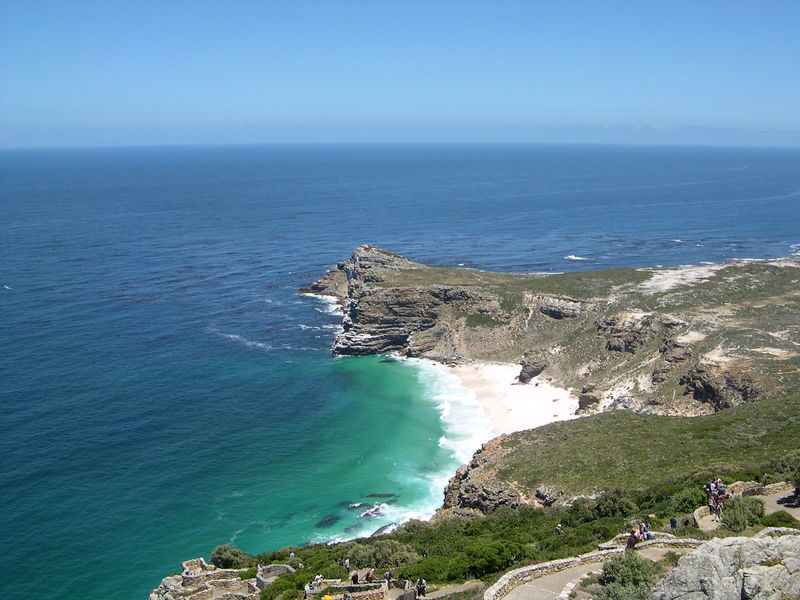 Looking from the lighthouse toward the most southerly point on the Cape of Good Hope.