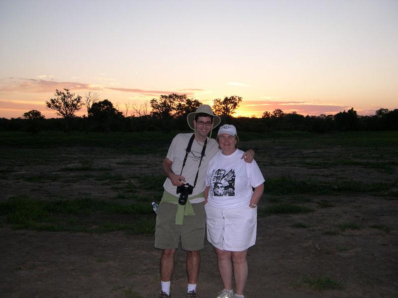 Susan and Jim enjoy a beautiful African sunset.