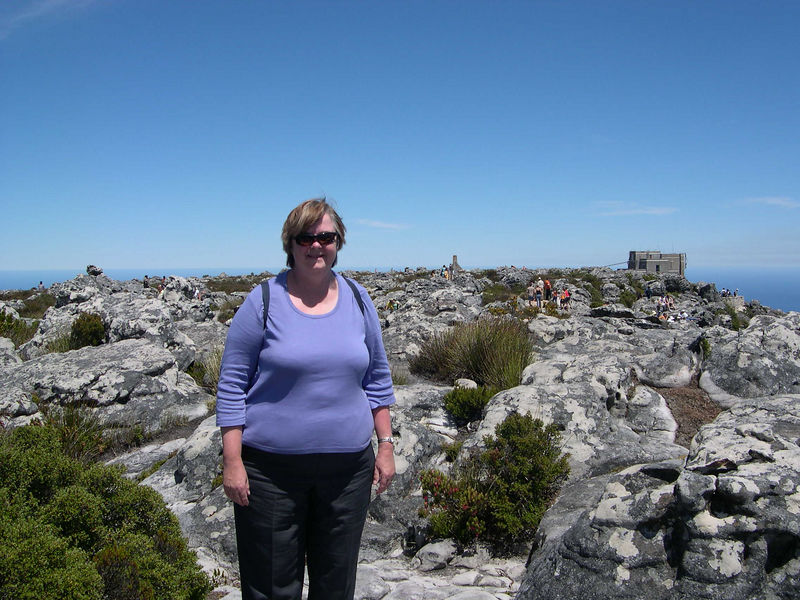 Susan on our walk on Table Mountain.  It was the only day that week when the top of the mountain was clear.