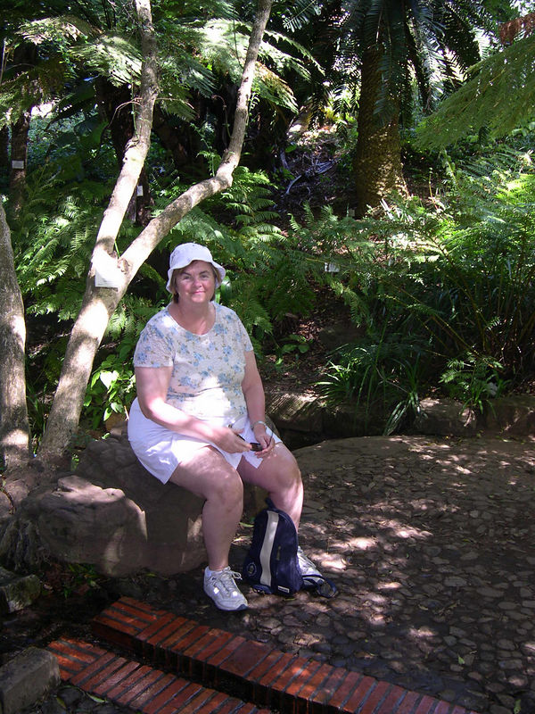 Susan taking a break by a spring in the Botanical Gardens.