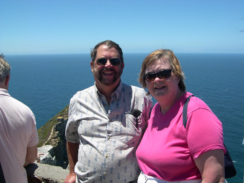 Dick and Susan at the lighthouse above the Cape of Good Hope.