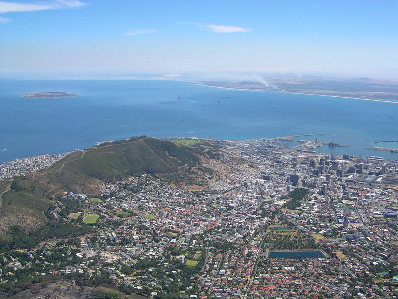 Capetown from the top of Table Mountain.
