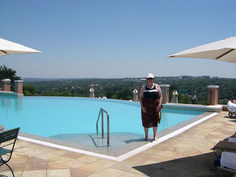 Susan at the pool in Westcliff Hotel in Johannesberg, the day after we arrived in South Africa.