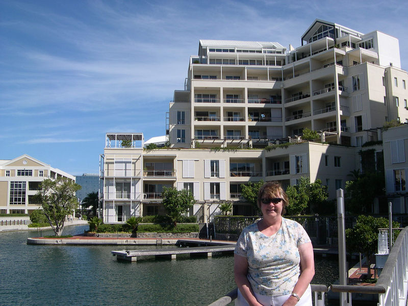 Susan in front of the apartments where we staying in Capetown.
