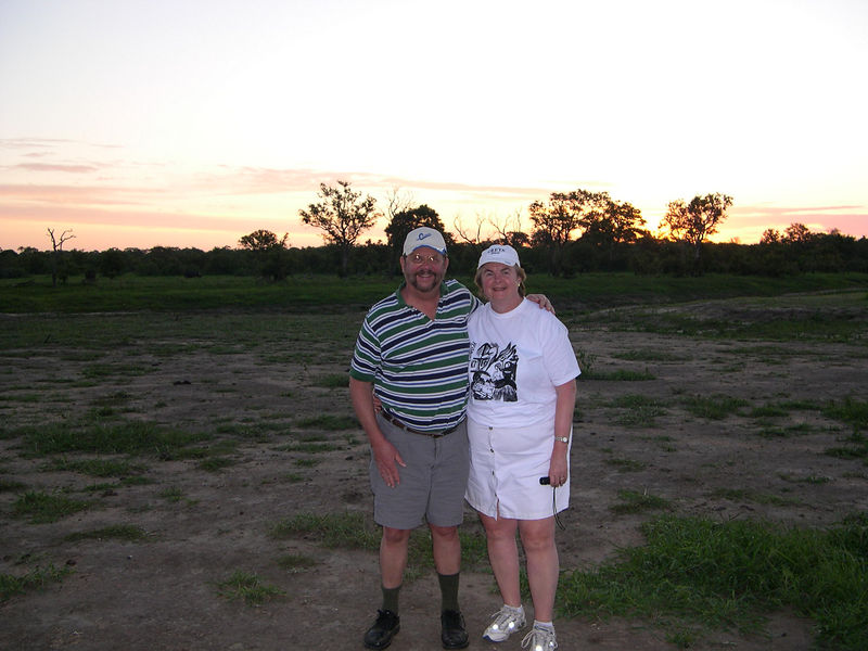 Dick and Susan at sunset on the veld.