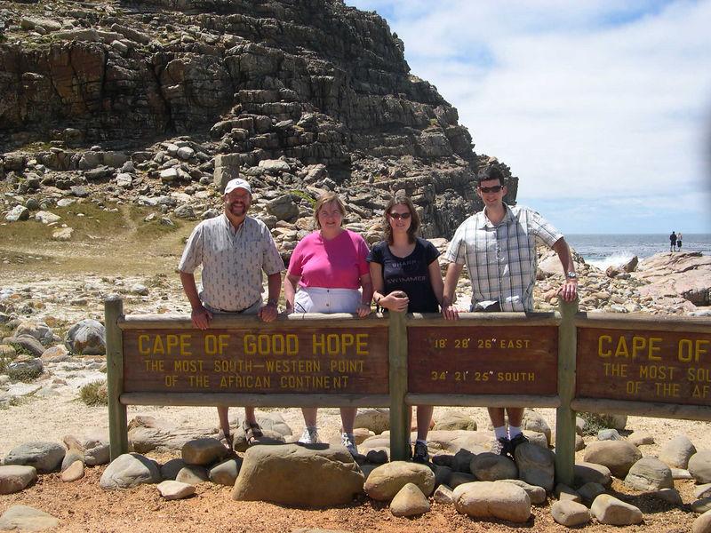 Dick, Susan, Liz and Jim at the Cape of Good Hope.