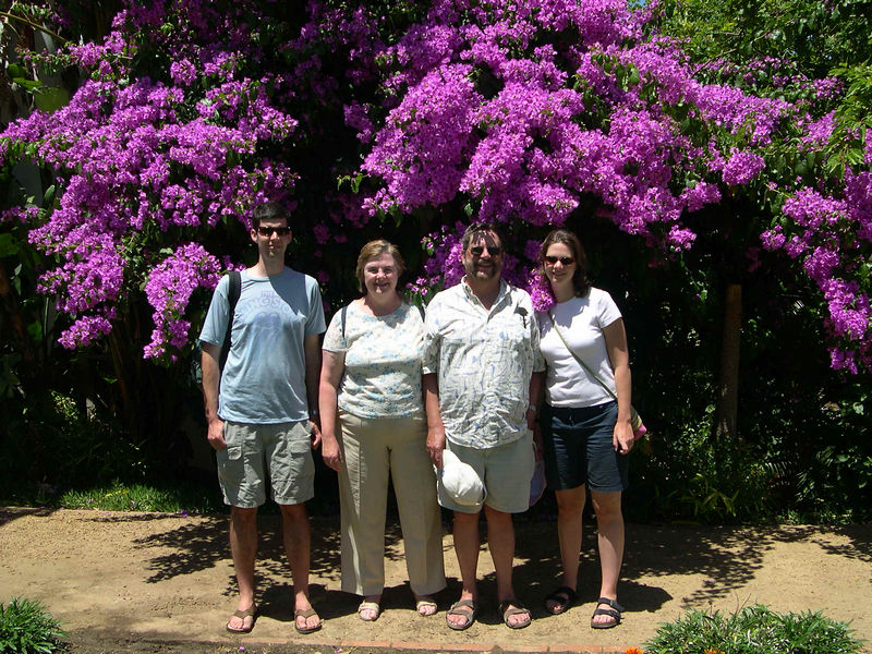 Jim, Susan, Dick and Liz under a bougainvilla after the wine tasting.