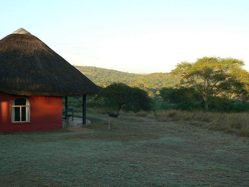 "After we left Kruger park in Mpumalanga, we drove south along the border of Swaziland to a private game preserve in the Natal region. Here is the ""hut"" we stayed in."