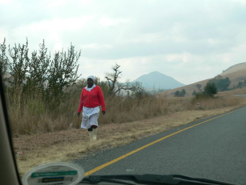 This was a common sight: people walking or standing on the side of the roads and highways. Many were hitchhiking. Although Jay and I never stopped for anybody (they would've had no room with all our camping gear in the back seat) it did not escape us that we never saw any white South Africans on the side of the road. Unfortunately the inequalities set up by aparthied are deeply rooted, and certainly not eradicated.