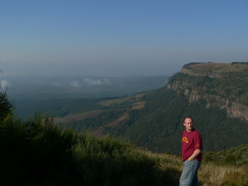 June 11, 2005. The second day in Gauteng province we drove to some of the scenic points of the Blyde River canyon. Jay and I are standing on the Highveld overlooking the escarpment and the lowveld.