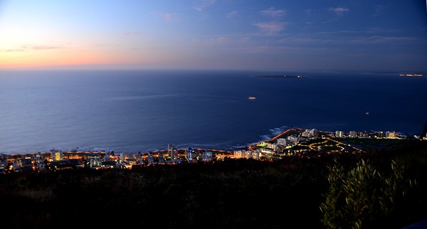 Dusk. View from Signal Hill. Cape Town South Africa ……………….[ Copyright © - Photo by Barry Jucha ] Robben Island in the distance
