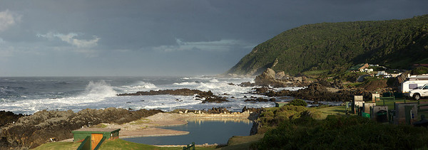 Tsitsikamma National Park, South Africa. Storms River Mouth restcamp, looking west.