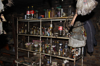 Inside the Nanga's shop (medicine man) in the township