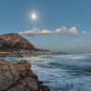 Rocky, moonlit shore, Hermanus