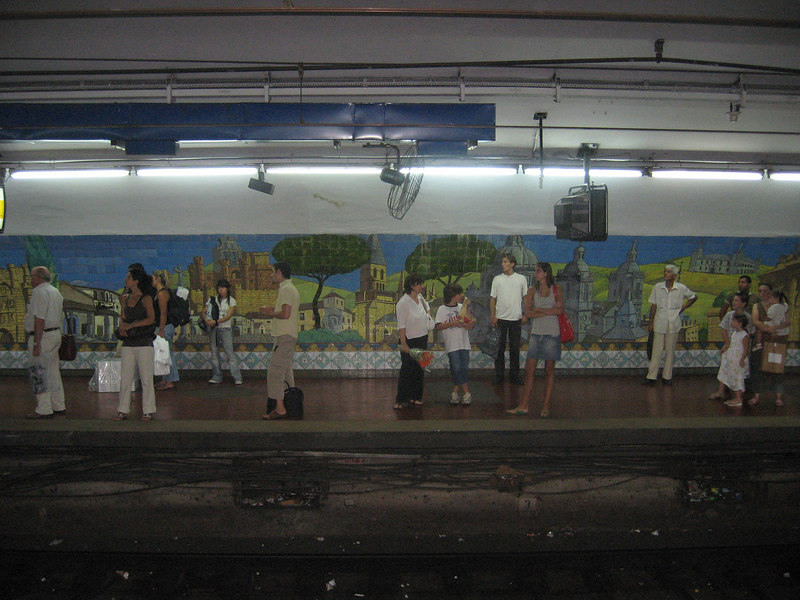 Subte (subway) station in Bs.As. with great tile mural.