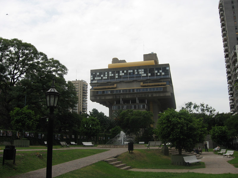 This very odd structure is the National Library of Argentina. Jorge Luis Borges had been director of the institution, but this building was not built until 1992. The library sits on the site of the former Presidential Residence where Eva Perón died. The residence was demolished and the site given another use so that it would not become a shrine to her supporters after her death.