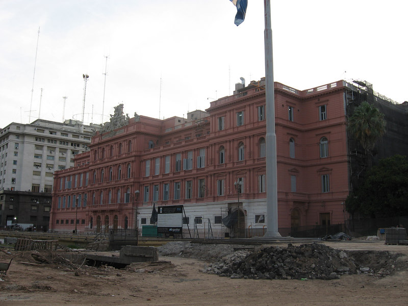 the Casa Rosada, or Pink House, is only one of the many public buildings in Buenos Aires being refurbished at present.