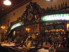Bar in El Bar Federal in San Telmo barrio. The wooden piece with the stained glass and clock was originally in a bakery. Great atmosphere and pasta.