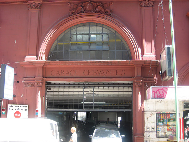 Even a garage on a city street is given a certain grandeur.