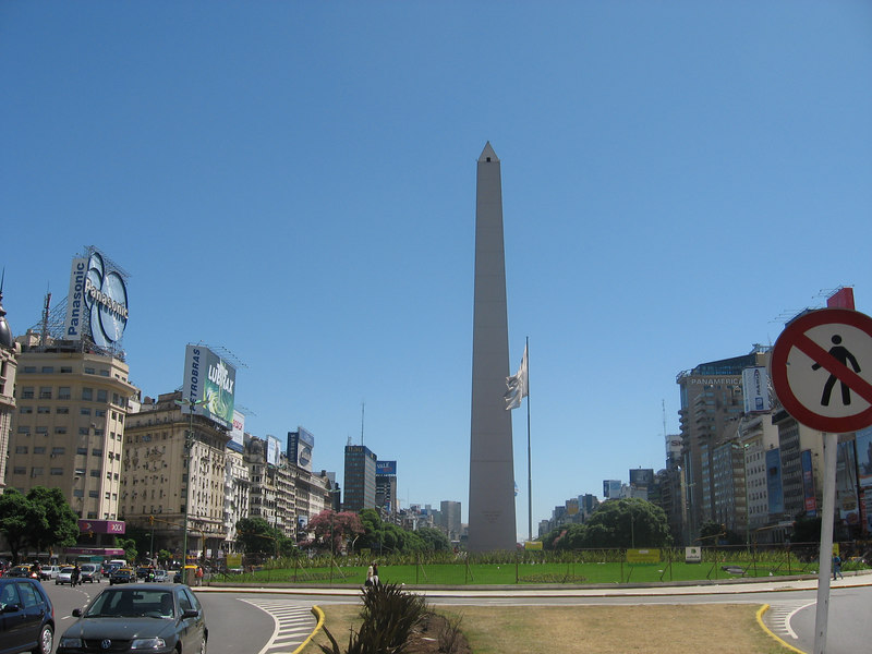 The obelisk in the center of the Avenida 9 de Julio, the widest street in the world. The obelisk was built in 1936 to commemorate the 400th anniversary of the founding of the city.