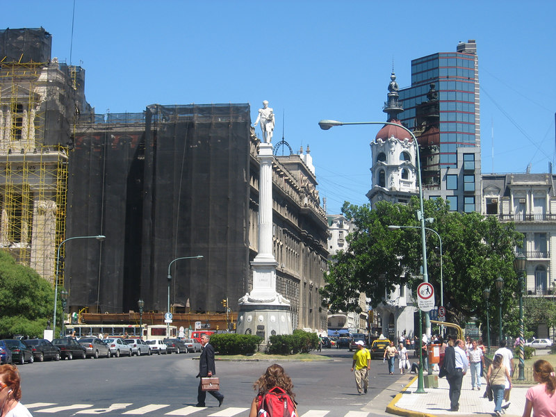 Statue of San Martín, Argentina's liberator, in Plaza San Martín. The law courts behind are just some of the many public buildings that are in the process of cleaning and renovation.