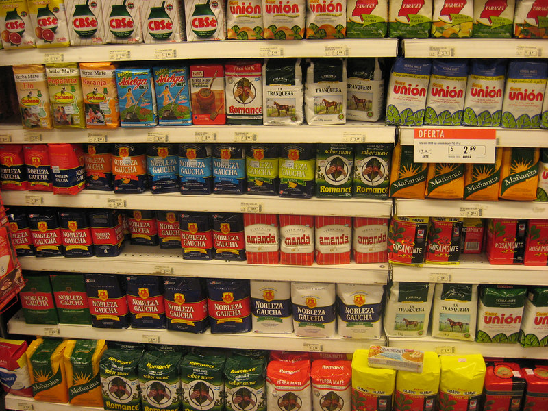 Selection of yerba maté in Bs.As. supermarket.