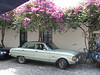 Mid 1960's Ford Falcon, with bougainvilleas. For some reason there are lots of these cars still around in Uruguay, especially in Colonia.