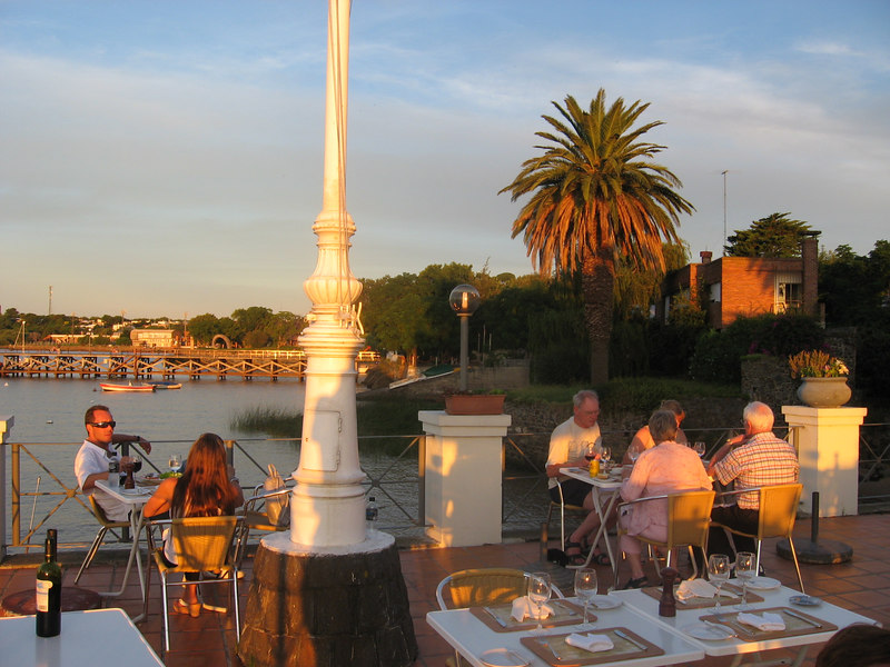 View from our dinner table on the terrace at the Yacht Club's restaurant. Cooling breezes and a beautiful sunset over the Rio de la Plata. This is the life!