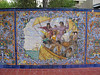 Detail of tile mural in Plaza de Espana, depicting Columbus's arrival in the New World.