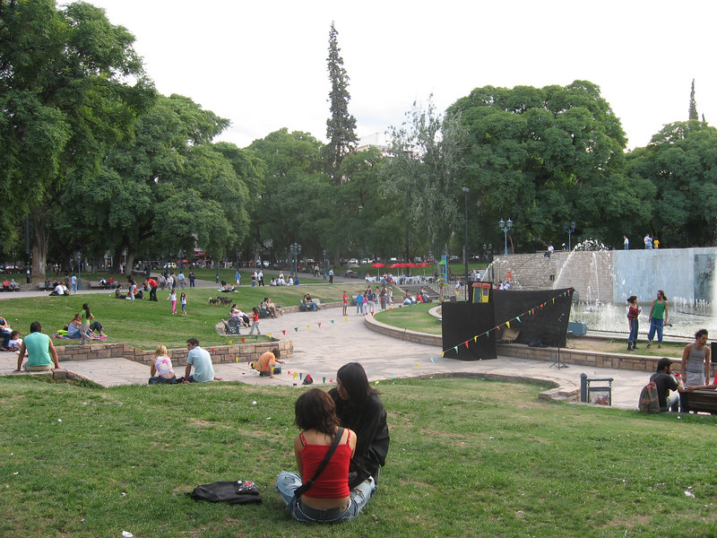 Enjoying the main Plaza de Independencia on a summer Sunday afternoon.