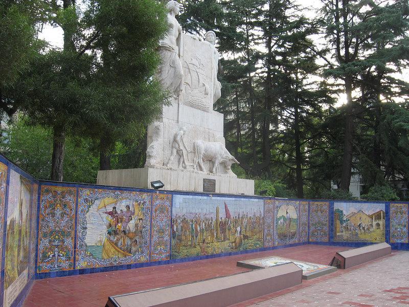 Tile murals depicting history of Argentina and Mendoza at the city's Plaza de España.