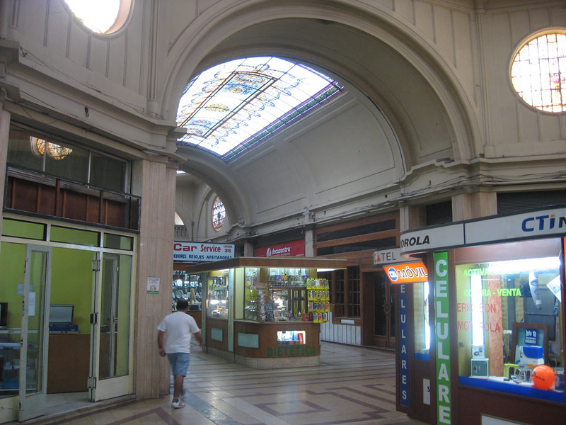 One of many galleries of shops in Mendoza, this one with a stained-glass skylight.