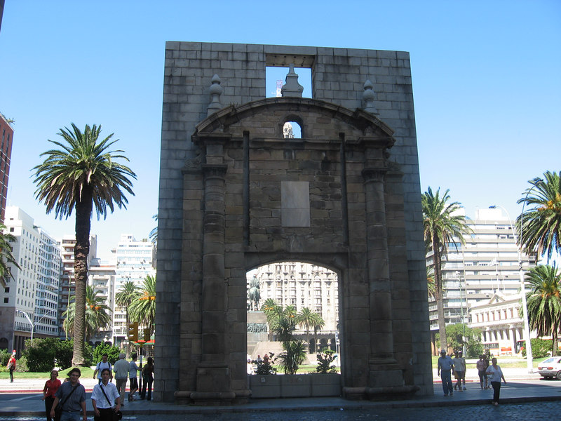 This single gate remains from the old city walls, at one end of the Plaza Independencia.