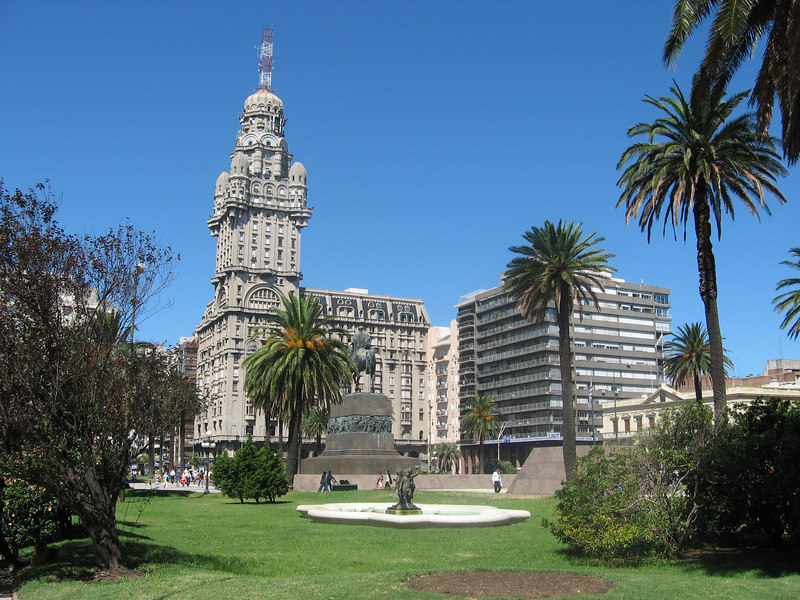 View of the Palacio Salvo across the Plaza Independencia. In the early years of the 20th cenury, the Salvo was the tallest building in South America.