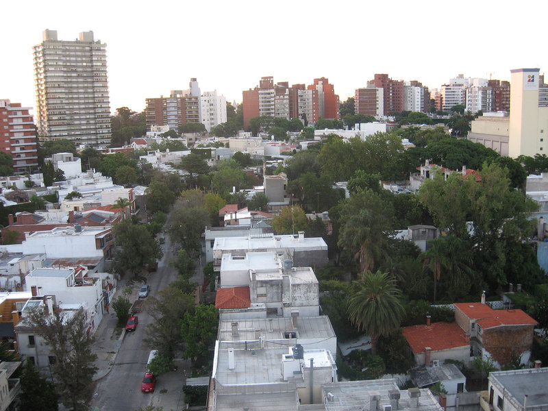 Daytime view of the neighborhood surrounding our hotel in Montevideo, taken from the roof-deck of the hotel.