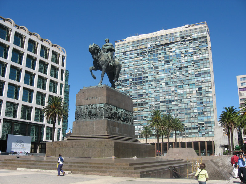 Monument to the national hero and liberator, Artigas, in the Plaza Independencia, the main plaza in Montevideo with modern buildings behind.