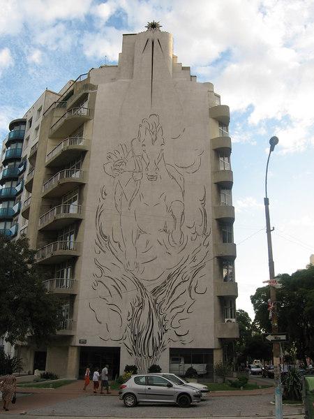 Pierced concrete decoration on a modern building in Pocitos.