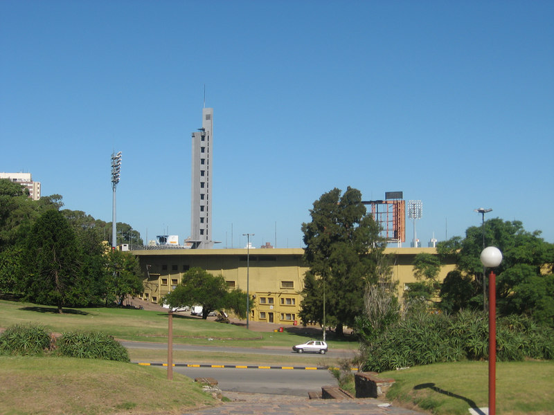 Soccer stadium with its distinctive tower. This stadium was the site of the first World Cup competition, which Uruguay won.