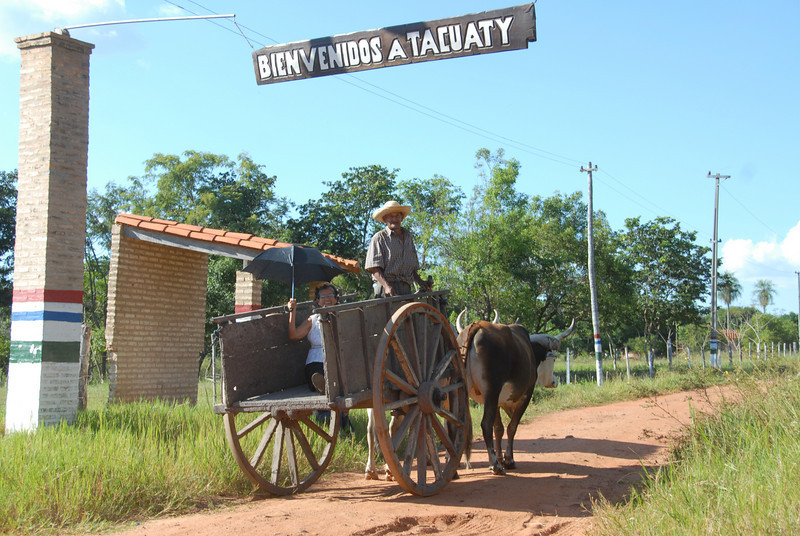Heading back to the farm  in the Paraguay countryside.